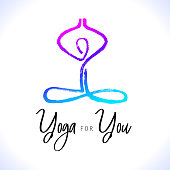 Yoga lotus pose, hand drawn yoga love stylized vector icon logo for school, center, class. Figure sitting in a lotus pose. Oriental brushwork style
