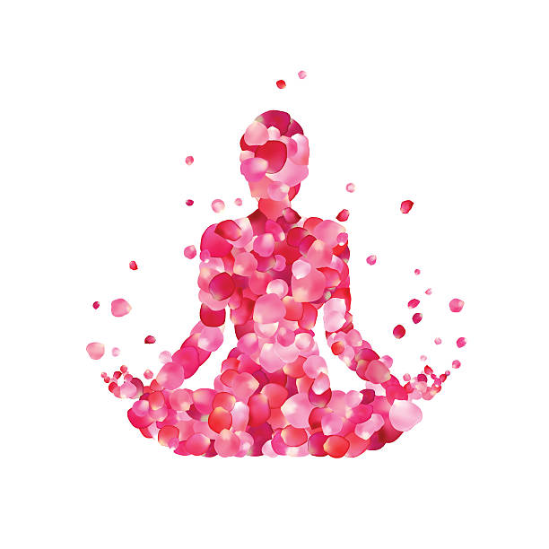stockillustraties, clipart, cartoons en iconen met yoga lotus pose silhouette - woman water