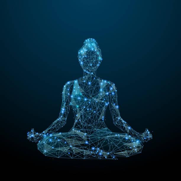 Yoga-low-Poly blau – Vektorgrafik