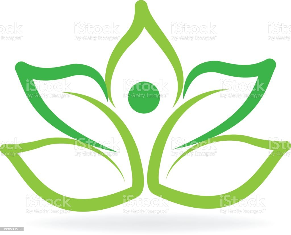 Yoga Man Green Lotus Flower Logo Stock Vector Art More Images Of