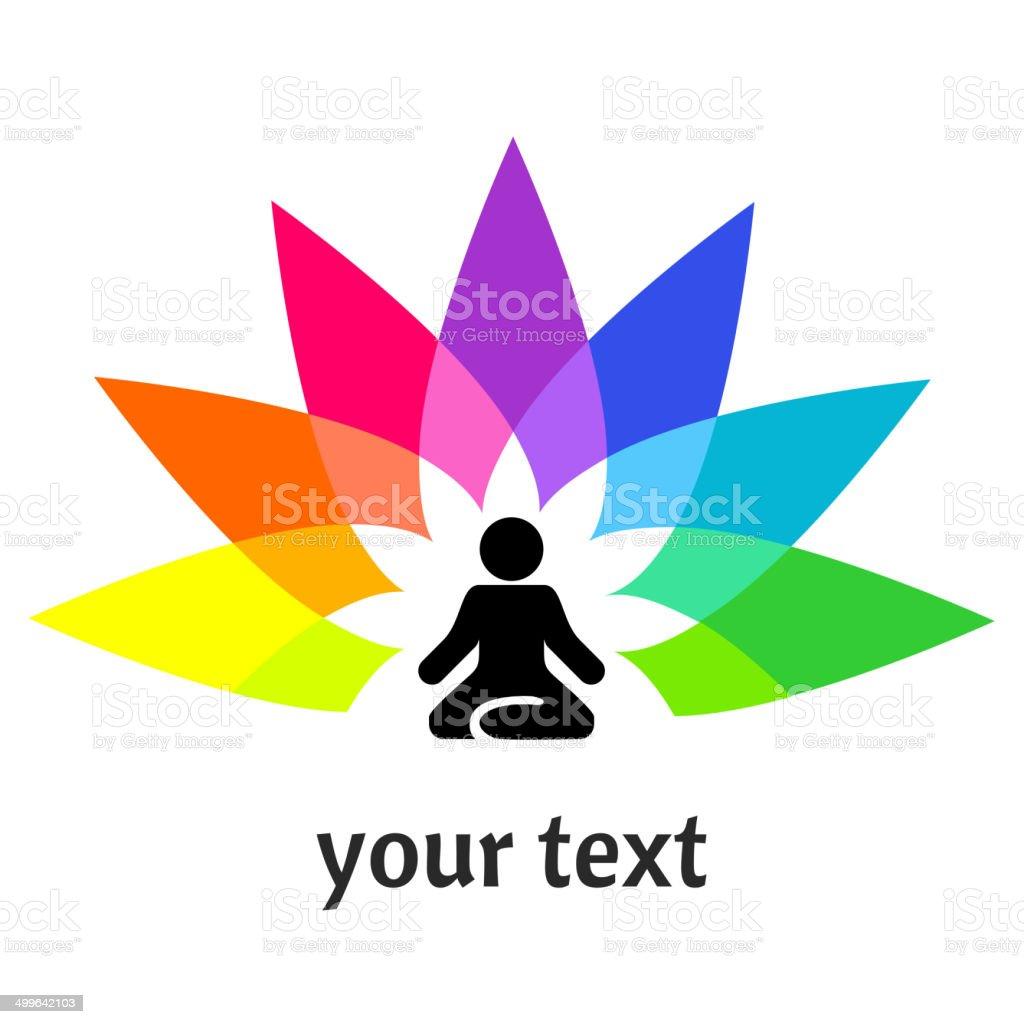 Yoga - man in a lotus position vector art illustration