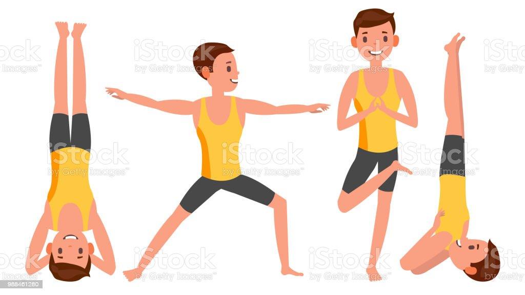 Ilustración de Yoga Hombre Plantea Establecer Vector Hombre Figuras ... cbb488acb4f0