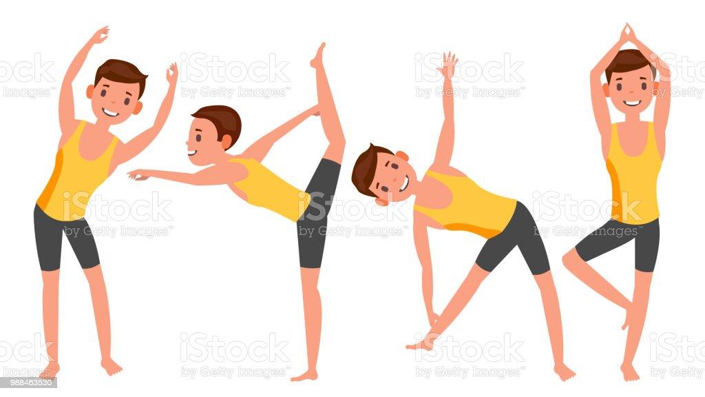 Yoga hombre plantea establecer Vector. Chica. Posturas de yoga. Haciendo  ejercicios de Yoga 8bce0baf6a28
