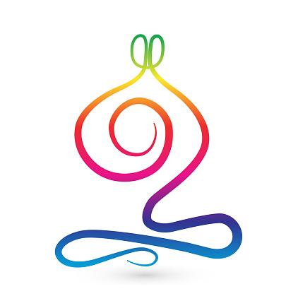 Yoga Man Gestileerde Symboolpictogram Stockvectorkunst en meer beelden van Abstract