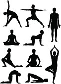 Silhouettes of a man in various yoga poses.