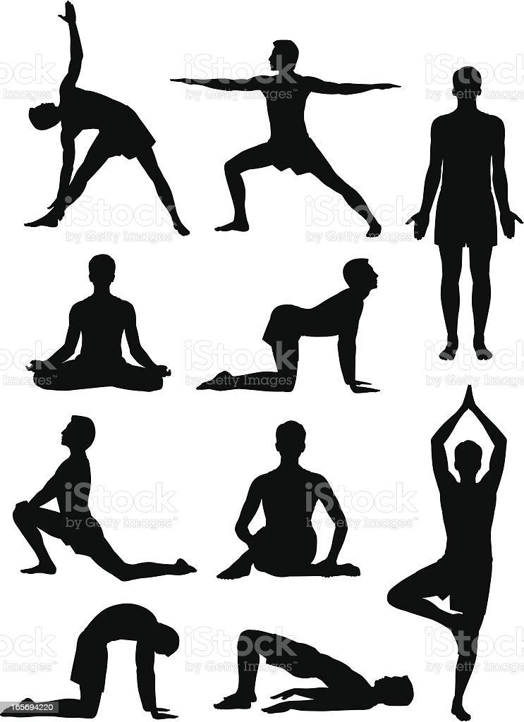 Hombre haciendo Yoga - ilustración de arte vectorial