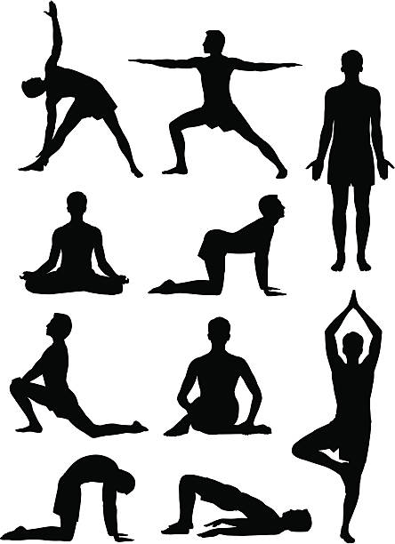 yoga man - yoga stock illustrations, clip art, cartoons, & icons