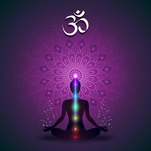 Yoga Mandala Violet Yoga Mandala Violet-Effects And Gradient Mesh-EPS 10 yogi stock illustrations