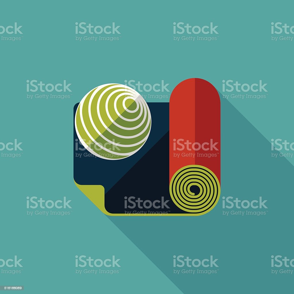 yoga mat and ball flat icon with long shadow,eps10 vector art illustration