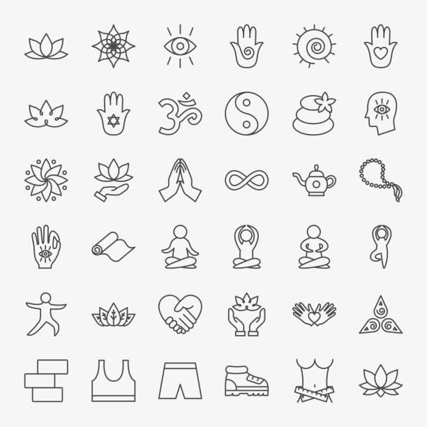 Yoga Meditation Line Icons Set Yoga Meditation Line Icons Set. Vector Thin Outline Sport Symbols. yoga stock illustrations