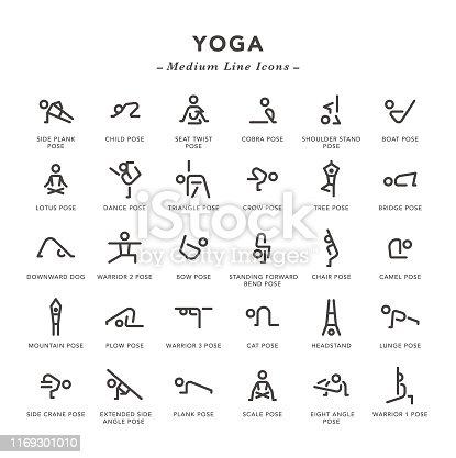 Yoga - Medium Line Icons - Vector EPS 10 File, Pixel Perfect 30 Icons.