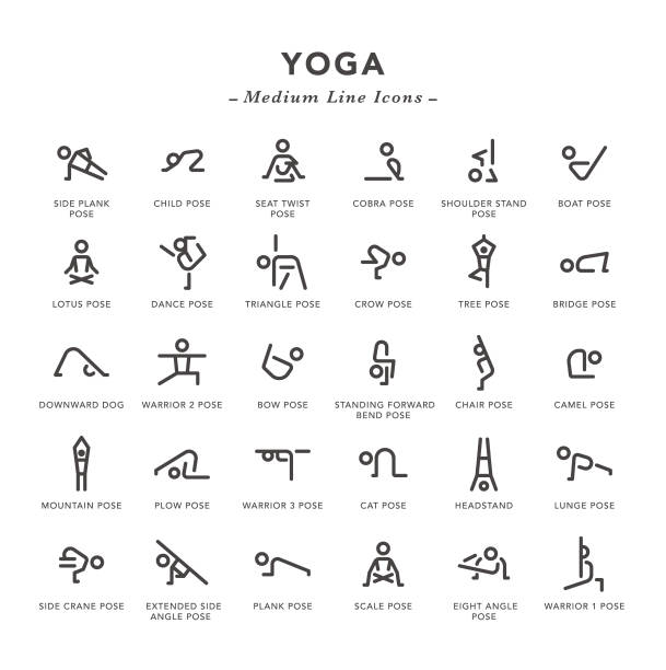 Yoga - Medium Line Icons Yoga - Medium Line Icons - Vector EPS 10 File, Pixel Perfect 30 Icons. yoga stock illustrations