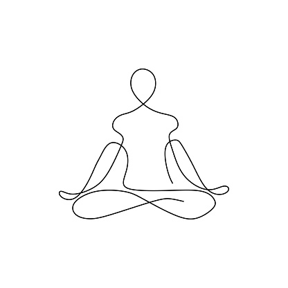 yoga namaste concept continuous one line drawing minimalist design. Minimalism theme vector illustration.
