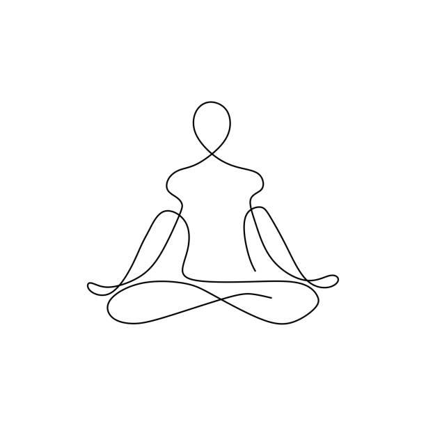 yoga namaste konzept kontinuierliche eine linie zeichnung minimalistischen design. minimalismus thema vektor-illustration. - menschliches körperteil stock-grafiken, -clipart, -cartoons und -symbole