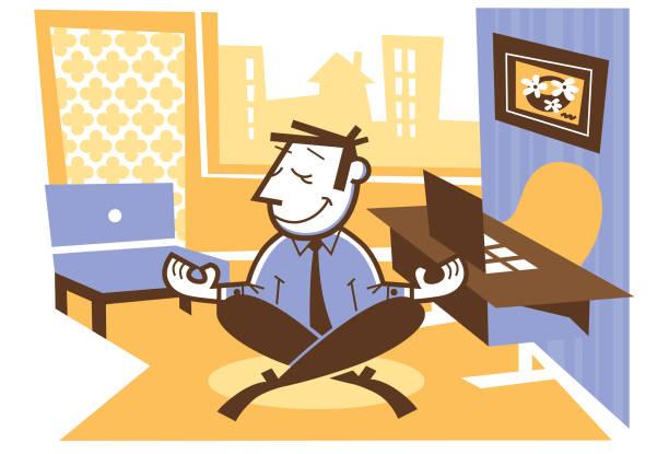 yoga office - peter bajohr stock illustrations
