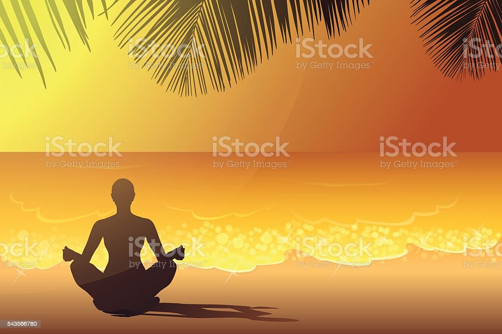 Yoga on the beach at the sunset vector art illustration