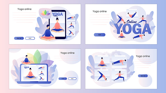 Yoga online. Tiny people watching online classes, practicing hatha yoga, meditation. Screen template for mobile smart phone, landing page, template, ui, web, mobile app, poster, banner, flyer. Vector