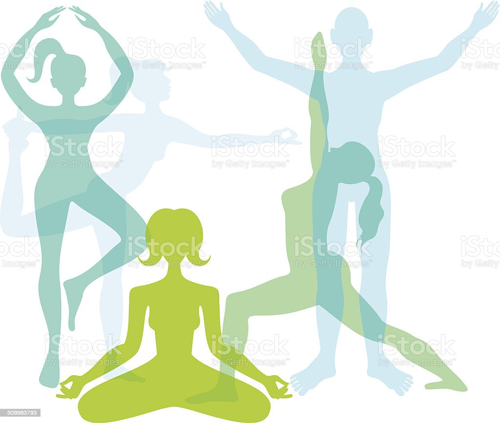 Yoga people vector art illustration