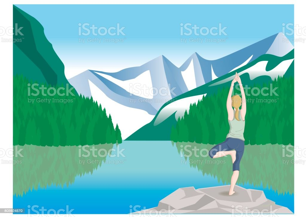 Yoga pose · Great nature vector art illustration