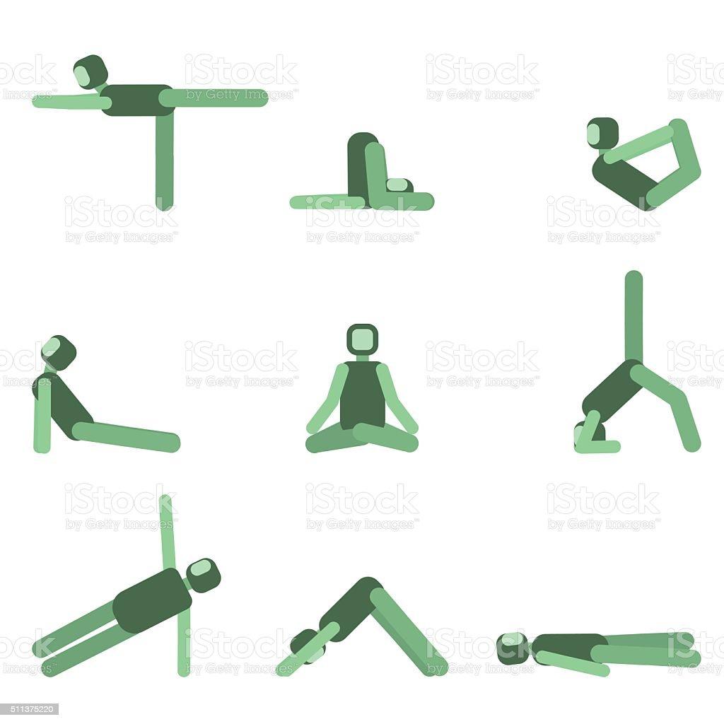 Yoga pose icon set. Collection of asanas.Vector illustration.