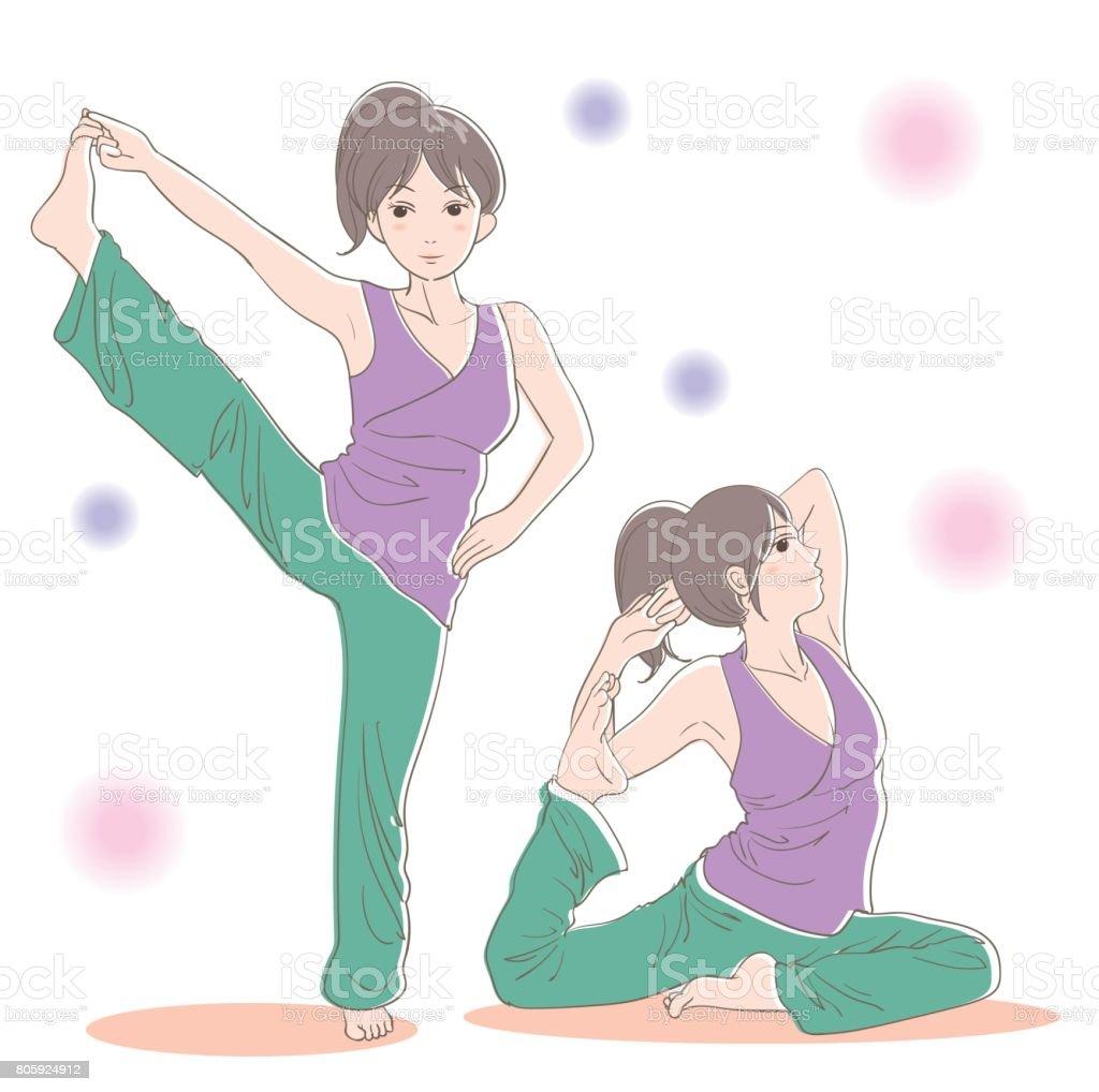 Yoga pose set · Advanced version vector art illustration