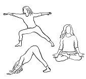 Various yoga poses, hand drawn
