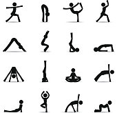 Vector icons of various yoga poses. Download includes: