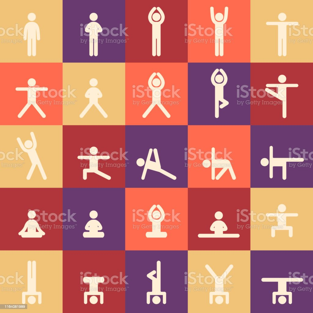Yoga poses asanas icons set. Vector illustrations. Seamless pattern....