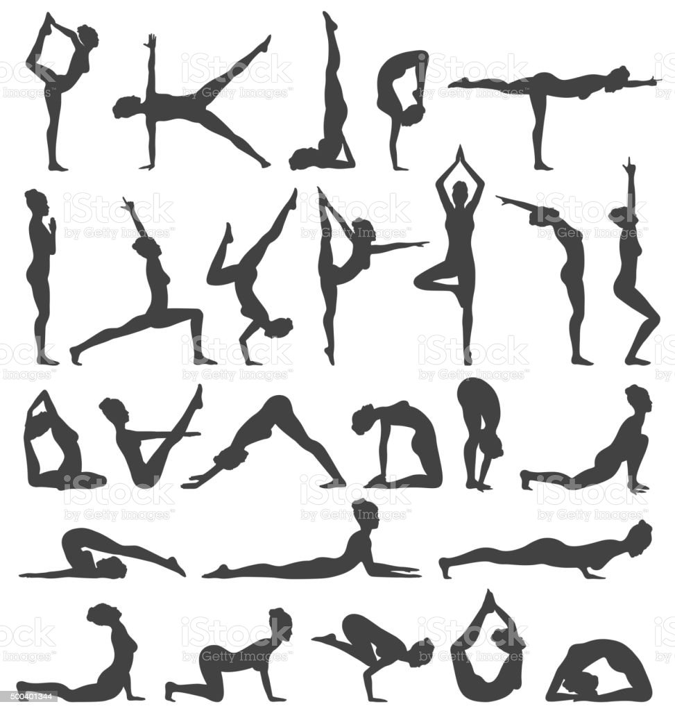 Yoga poses collection set black icons isolated on white illustration