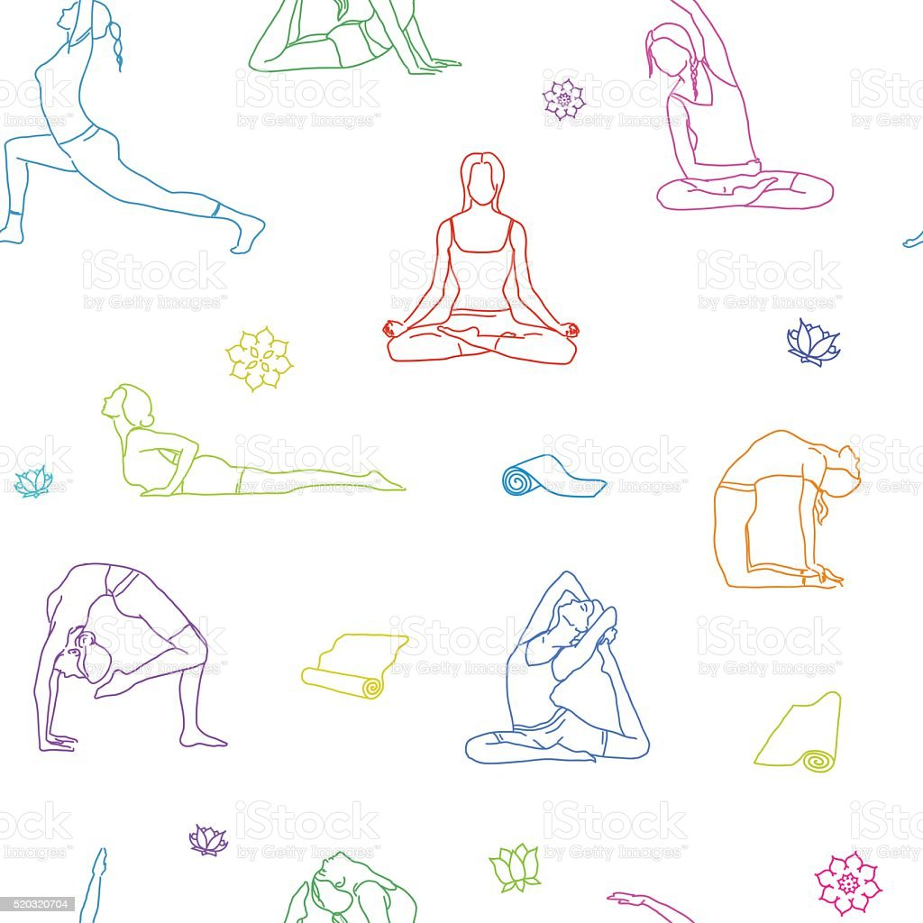 Line Drawing Yoga : Yoga poses colorful outline pattern background line