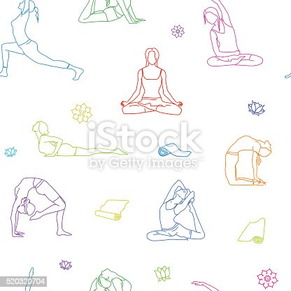 yoga poses colorful outline pattern background line