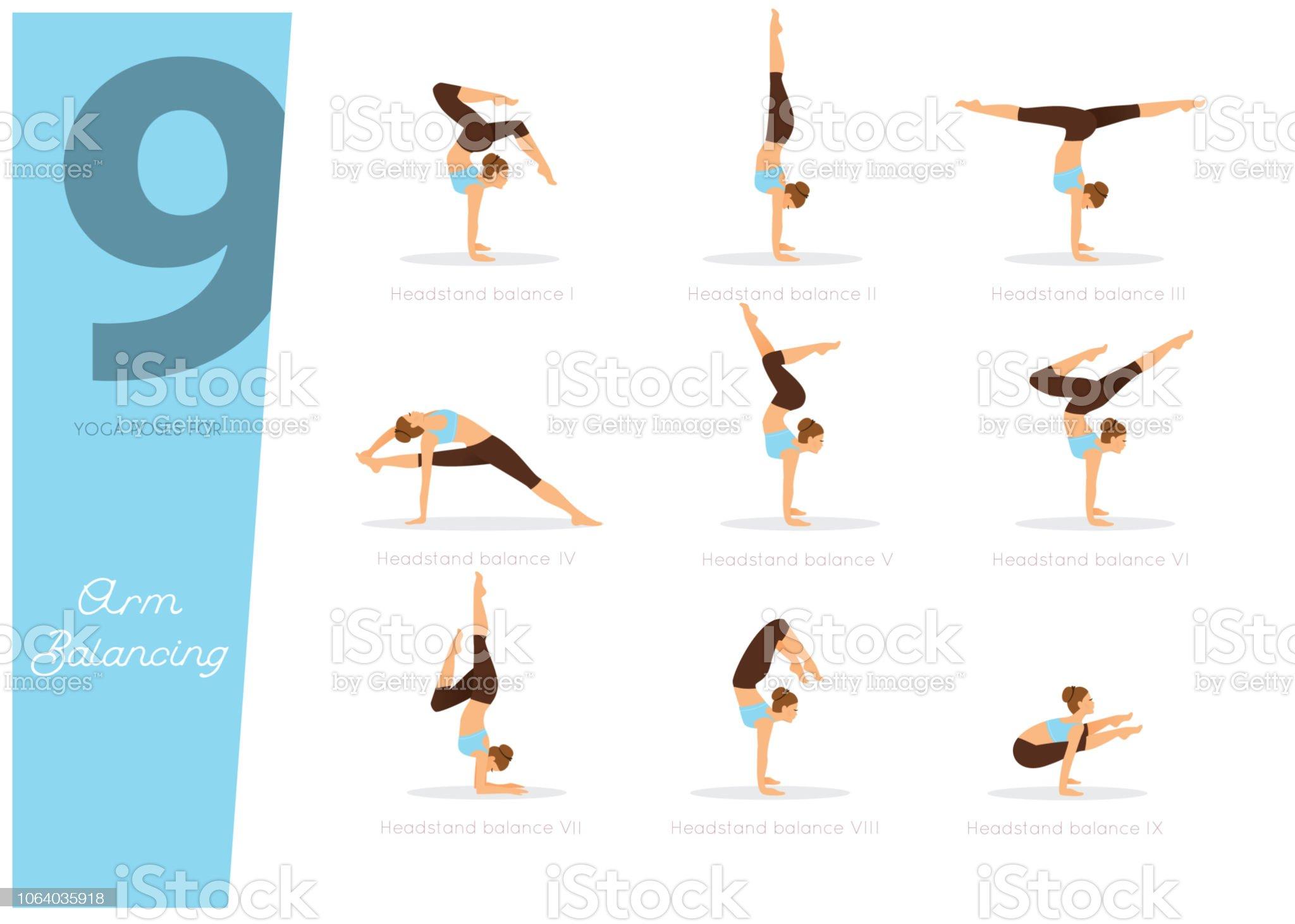 50 Yoga Übungen für den Ausgleich von arm – Vektor Illustration