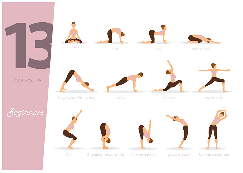 13 yoga poses for beginners stock illustration  download