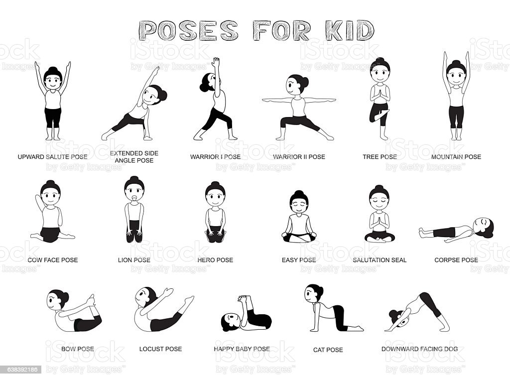 Yoga Poses For Kid Vector Illustration Monochrome Royalty Free
