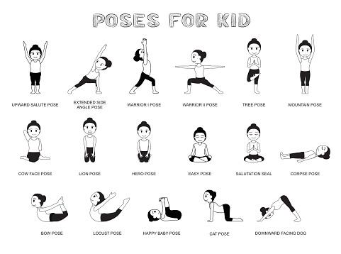 yoga poses for kid vector illustration monochrome stock