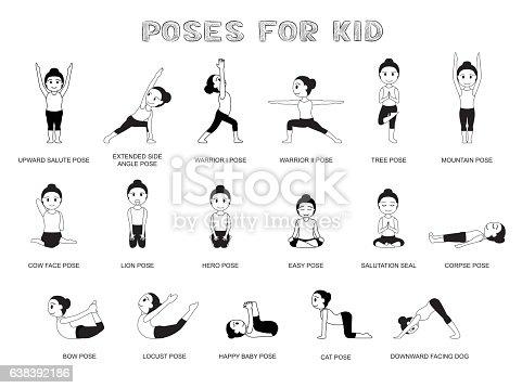Yoga Poses For Kid Vector Illustration Monochrome Stock ...
