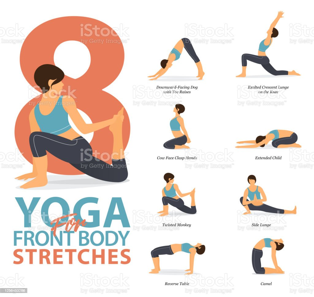 8 Yoga Poses For Workout At Home In Concept Of Yoga For Body Stretches Flat Design Woman Exercising For Body Stretching Yoga Posture Or Asana For Fitness Infographic Stock Illustration Download