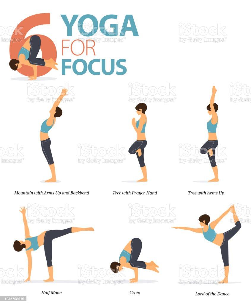 50 Yoga Posen Zum Workout Im Yoga Für Fokuskonzept Frau Die Für ...