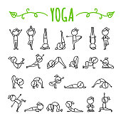 Yoga poses hand drawn icons. Yoga asanas symbols. Gymnastics exercises, stretching and meditation. Healthy lifestyle sport illustrations