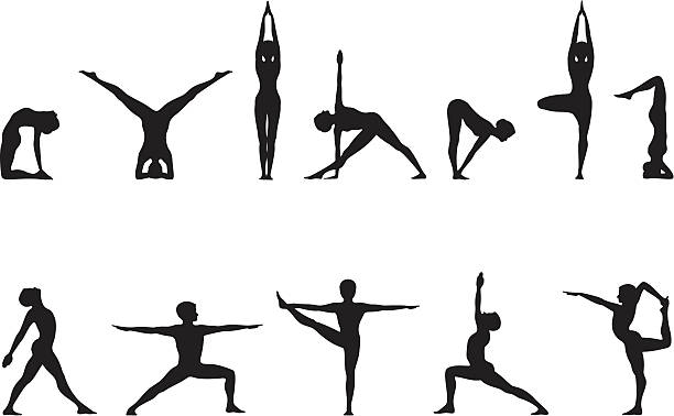 Yoga Poses in Silhouette  sun salutation stock illustrations