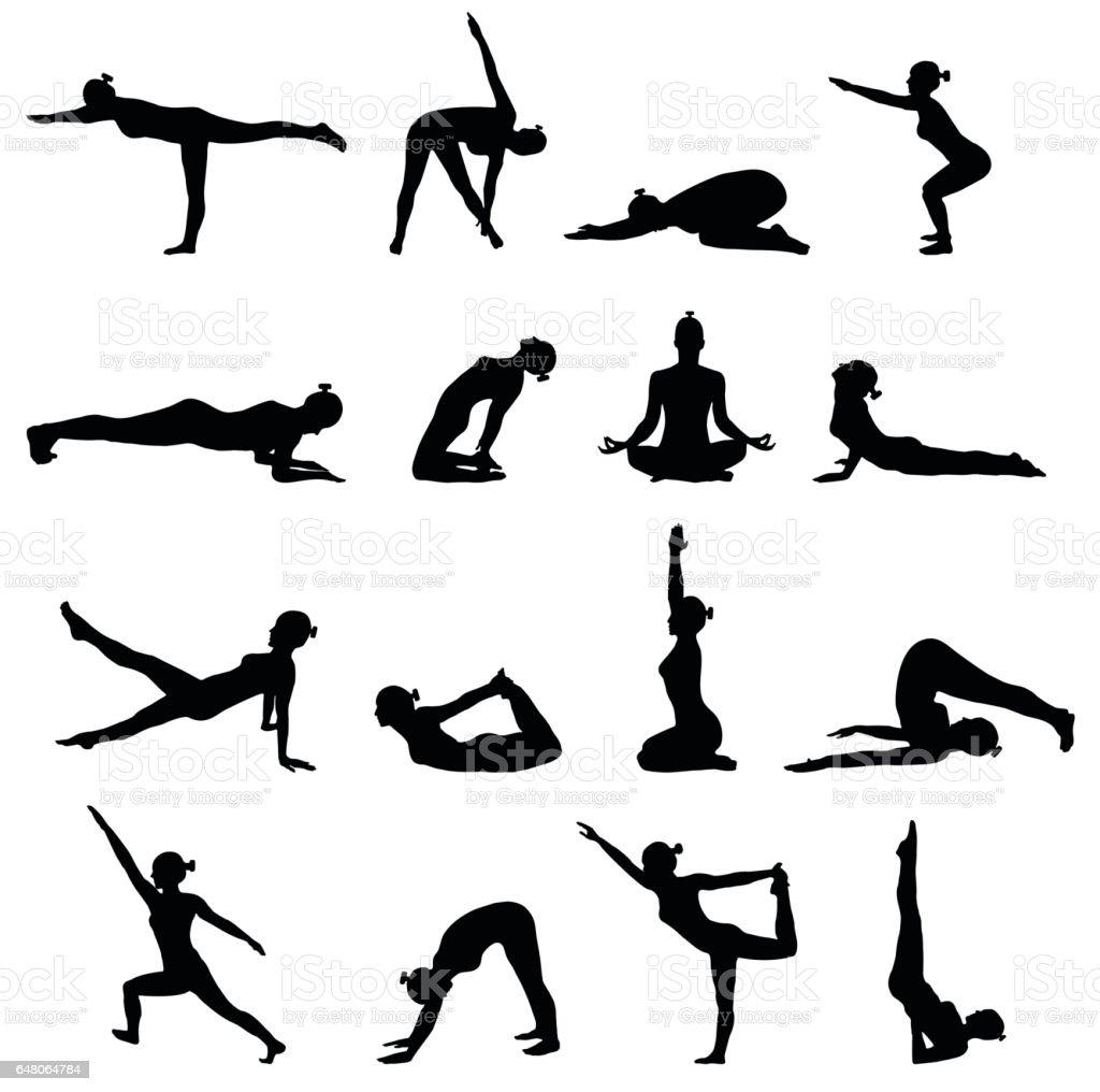 Yoga poses isolated on white background royalty free yoga poses isolated on white background stock