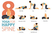 istock 8 Yoga poses or asana posture for workout in Happy Spine concept. Women exercising for body stretching. Fitness infographic. Flat cartoon vector 1295633528