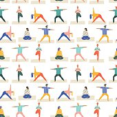 Yoga poses set seamless pattern in vector. Healthy lifestyle pattern. Flat style illustration.