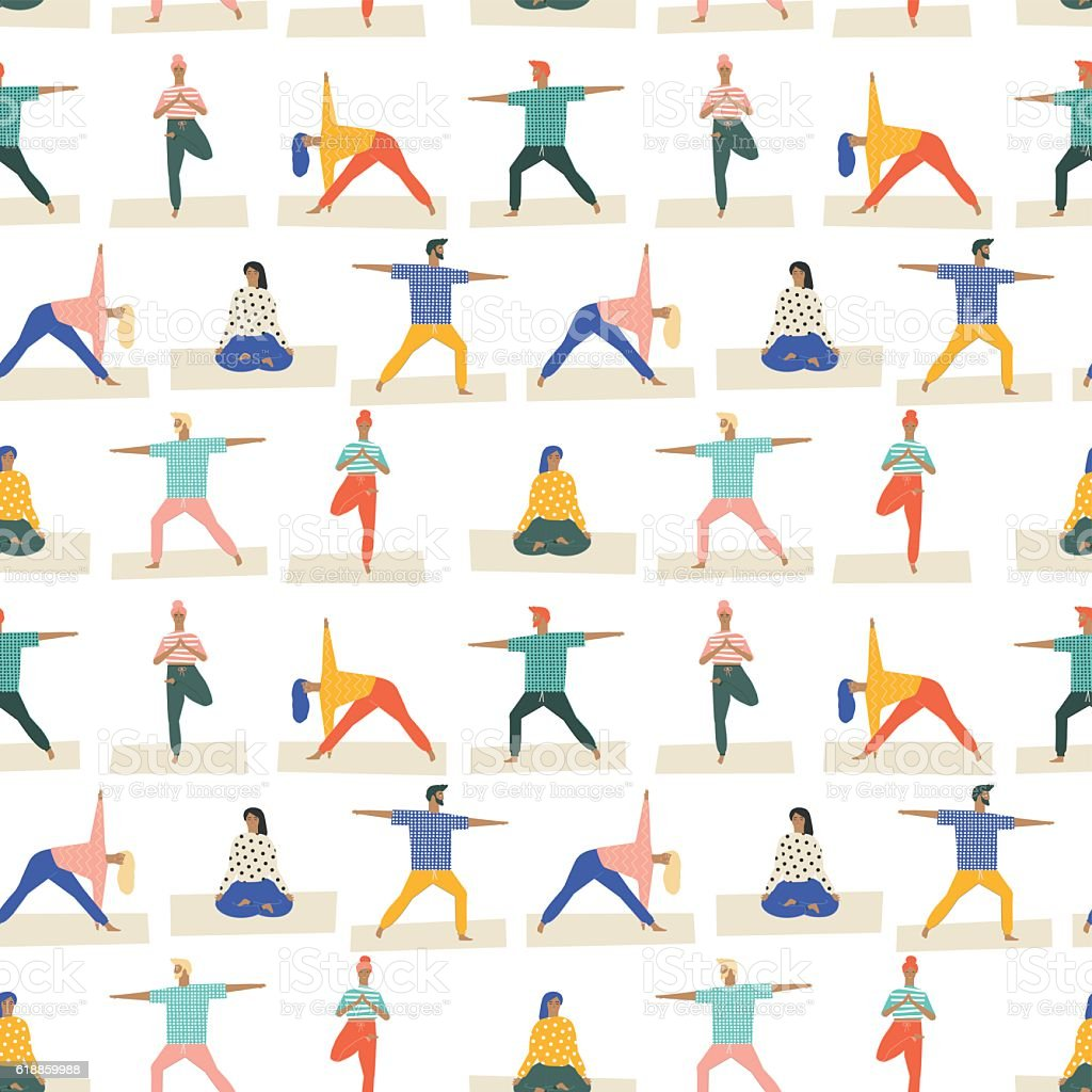 Yoga poses set seamless pattern in vector. Healthy lifestyle . vector art illustration