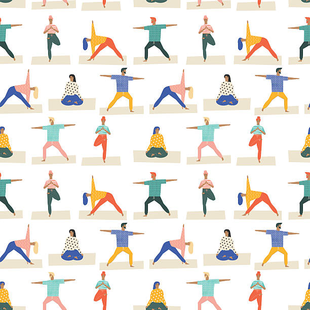 yoga poses set seamless pattern in vector. healthy lifestyle . - yoga stock illustrations, clip art, cartoons, & icons