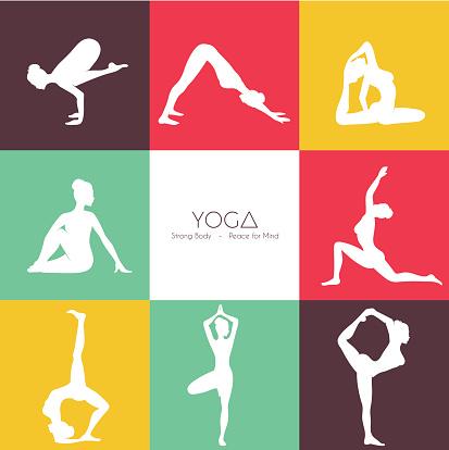 yoga poses silhouette set stock illustration  download