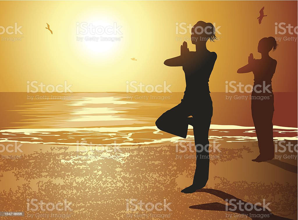 Yoga Poses Silhouettes royalty-free stock vector art