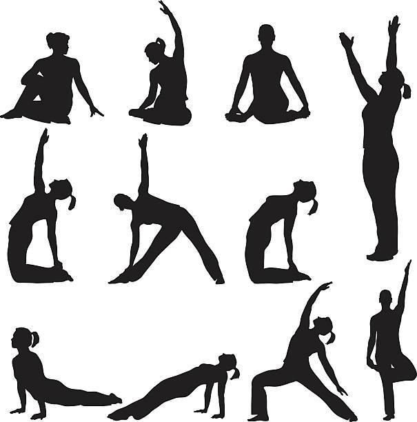 Yoga Poses Silhouettes vector art illustration