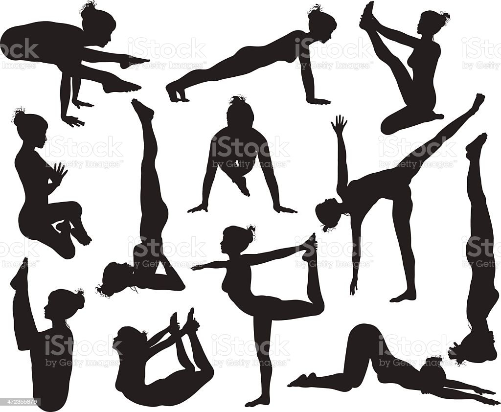 Yoga poses silhouettes royalty-free yoga poses silhouettes stock vector art & more images of adult