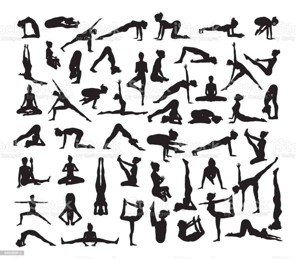 Yoga Poses Silhouettes vector art illustration